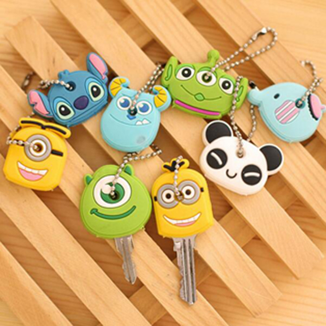 Cute 10pcs/lot Cartoon Key Holder Plastic Creative Portable Phone Key Bag  Keycahin Deacoration Children