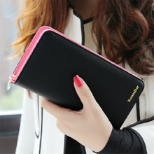 2016 Hot Sale Fashion 8 Colors PU Leather Long Wallets Women Wallets Lady Cash Purse Card Holder Portable Casual With Hand Rope