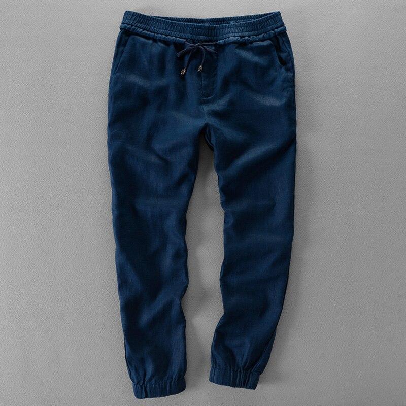 Brazil elastic waistband drawstring linen pants men casual solid trousers men loose flax pants mens brand pantalon 30-40size big