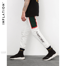 INFLATION 2018 FW Letter Printed Women Men Ankle Banded Pants Sweatpants Hiphop Style