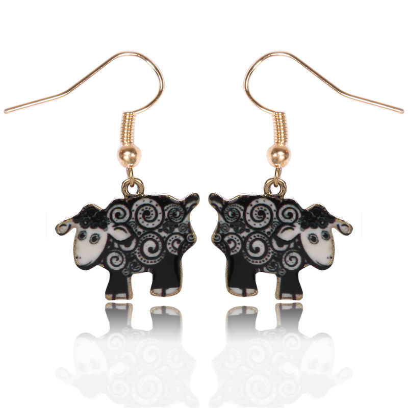 Nowy 4 style emalia śliczne koza owca stadniny kolczyki złoty kolor zwierząt kolczyki moda biżuteria najlepszy prezent dla dziewczyny