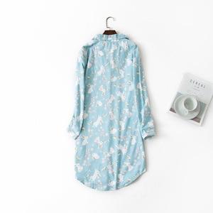 Image 2 - Lange Nachthemden Slumber Rok Plus Size Nachthemd Lange Mouwen 100% Katoen Sleepshirts Dames Vrouwen Nachtkleding Femme Jurk