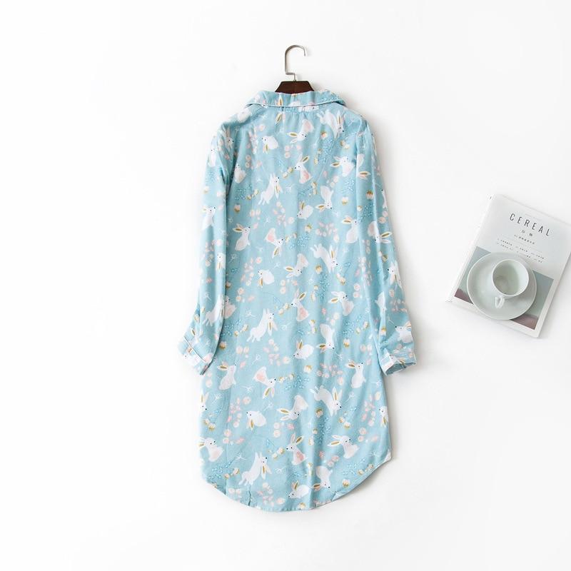 Image 2 - Long Nightgowns Slumber Skirt Plus Size Nightdress Long Sleeved 100% Cotton Sleepshirts Ladies Women Sleepwear Femme DressNightgowns & Sleepshirts   -