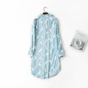 Image 2 - Long Nightgowns Slumber Skirt Plus Size Nightdress Long Sleeved 100% Cotton Sleepshirts Ladies Women Sleepwear Femme Dress