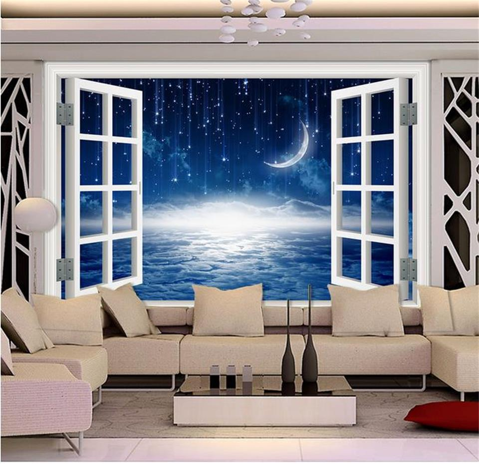 Custom 3D Photo Wallpaper Room Mural Fantasy Meteor Moon Window Photo Painting Sofa TV Background Wall Non-Woven Wallpaper Mural 3d wallpaper custom mural non woven 3d room wallpaper natural scenery poplar forest tv setting wall photo wallpaper for walls 3d