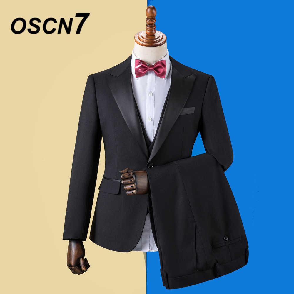 OSCN7 2019 無地カスタムメイドのスーツの男性のスリムフィットウェディングパーティーメンズオーダーメイドスーツファッション 3 ピースブレザーパンツベスト ZM-601