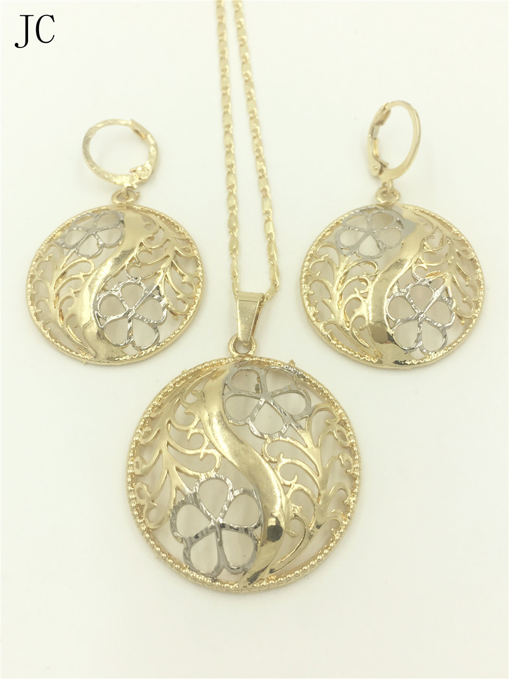 Women jewelry sets dubai 2016 design gold color two tone earrings women jewelry sets dubai 2016 design gold color two tone earrings pendant necklace in jewelry sets from jewelry accessories on aliexpress alibaba aloadofball Gallery