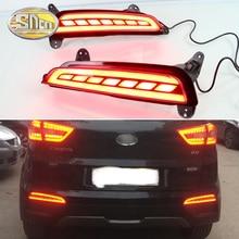 Светодио дный светодиодные задние противотуманные фары для hyundai Creta 2014 2015 2016 2018 В 2017 12 В заднего бампера свет авто Стоп сигнал поворота отражатели