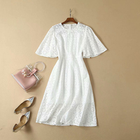 HIGH QUALITY Newest 2019 Summer Runway Dress Women's Flare Sleeve Hollow Out Embroidery Cotton Lace Dress