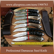 11.11 big discount hunting knife damascus steel blade camping knife stainless steel knives fixed blade knife CS go tool DT130
