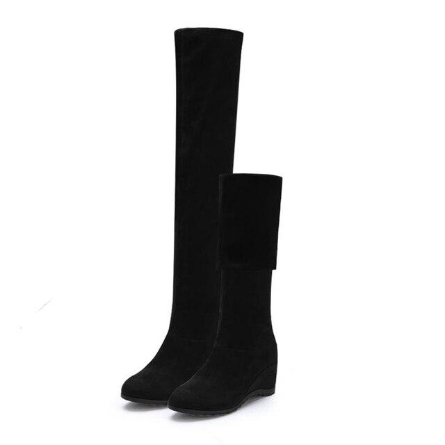 Black Elastic Flock Slim Fit Over The Knee Boots Women 2020 Autumn Winter Sexy ladies high heel wedges Long Thigh High botas