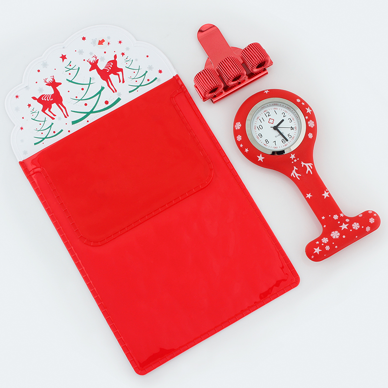 Merry Christmas Silicone Brooch Watch Nurse Fob Watch Nursing Gift Quartz Pen Clips  Doctors Nurses Dedicated Pen Bag Practical