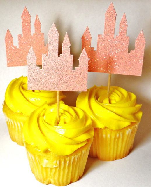 Glitter Princess Castle Cupcake Toppers birthday rustic Wedding ...