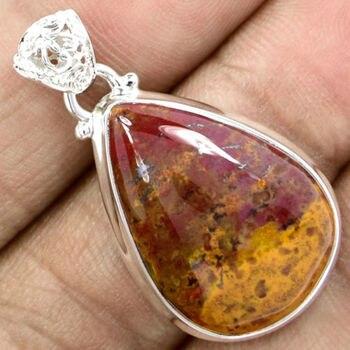 Colgante de Piedra de sangre genuina 100% joyería de plata de ley 925 38 MM KP0453
