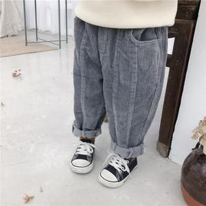 Image 4 - 秋冬ボーイズガールズコットンコーデュロイカジュアルパンツ 2018 子供すべてマッチにスプライシングソリッド色緩いパンツ子供ズボン