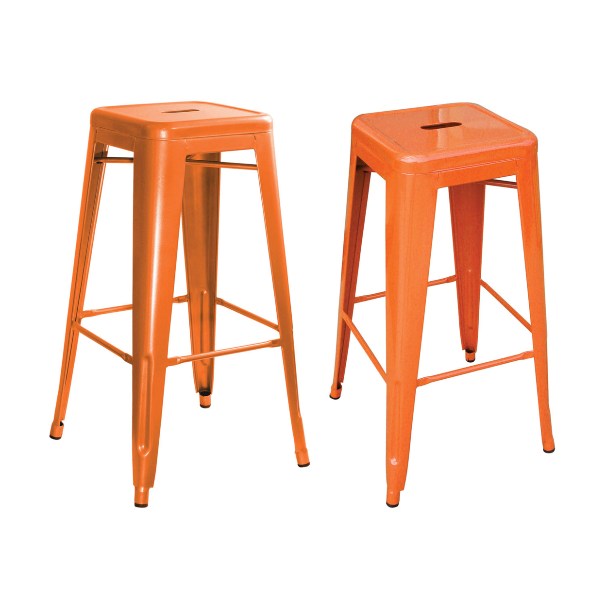 AmeriHome Loft Orange Metal Bar Stool - 2 Piece ...