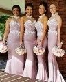 Chegada nova Halter longo da dama de honra Dress bainha colarinho alto barato Plus Size para vestido de festa de casamento