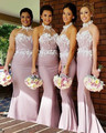 New Arrival Halter Long Bridesmaid Dress Sheath High Collar Cheap Plus Size For Wedding Party dress