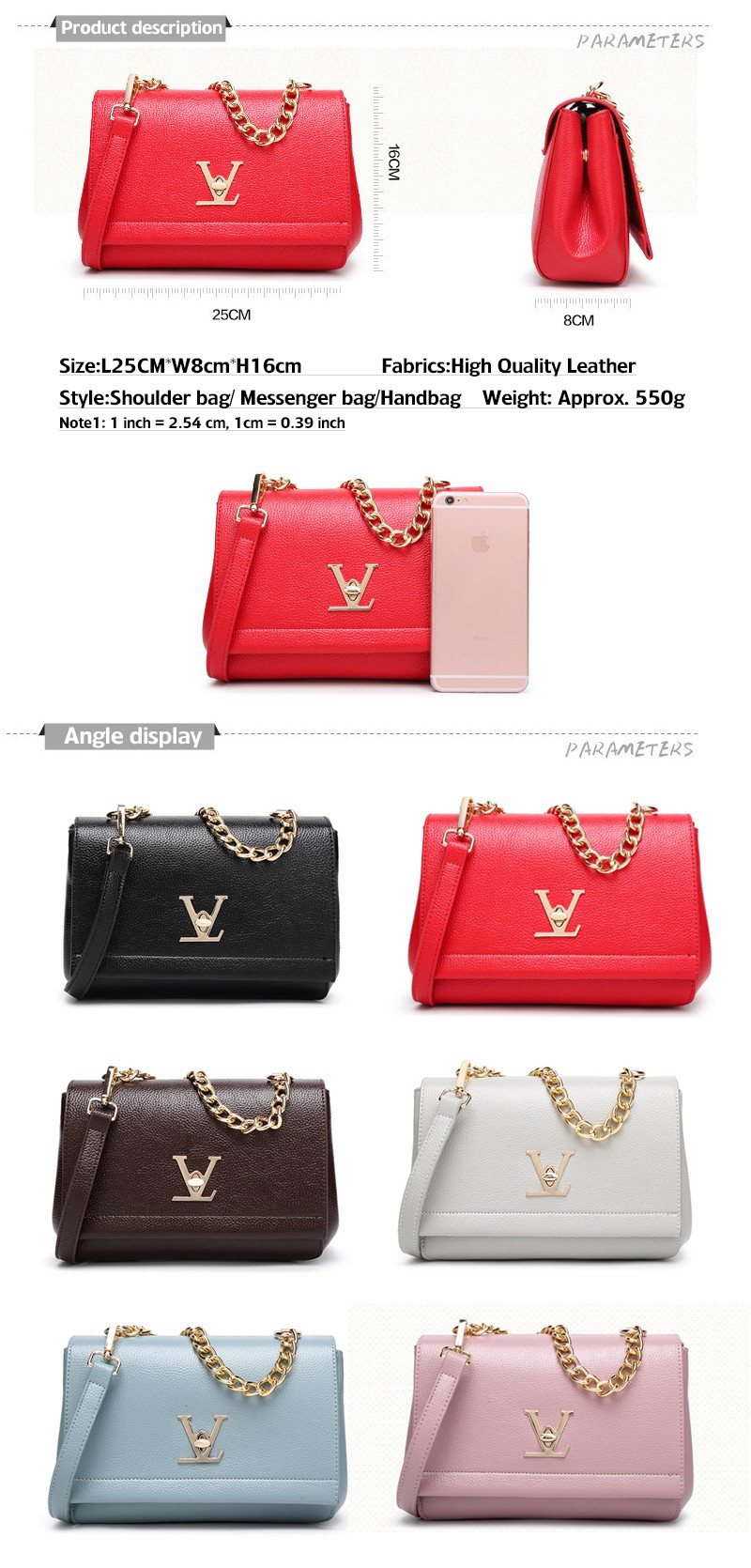 High Quality Loui Ladies Deform Litchi profile Bats Bag Women Chain Shoulder Leather Purses Handbags Bolsas Feminina Clutch (2)