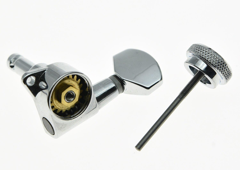 KAISH 3L3R clés de réglage de verrouillage accordeurs de guitare chevilles têtes de Machine Chrome - 5