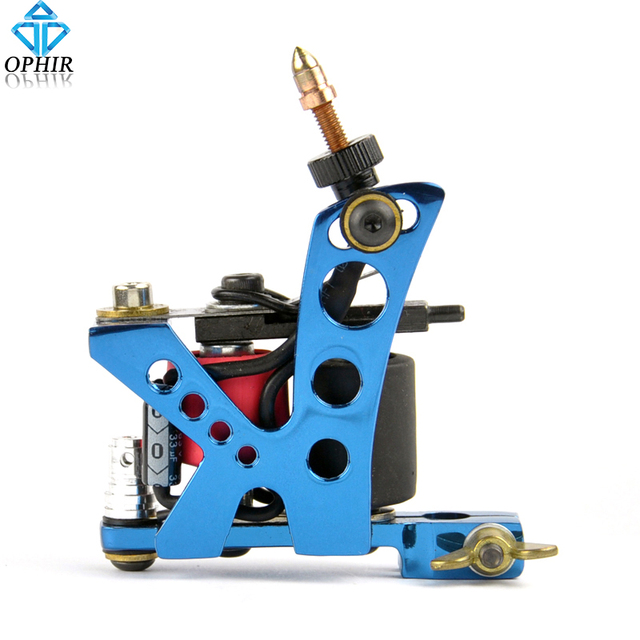 OPHIR Blue 8 Wrap Coil Dual-coiled 6V-10V Tattoo Gun Alloy Electric Tattoo Machine Shader Liner for Body Tattoo Art _TA019E