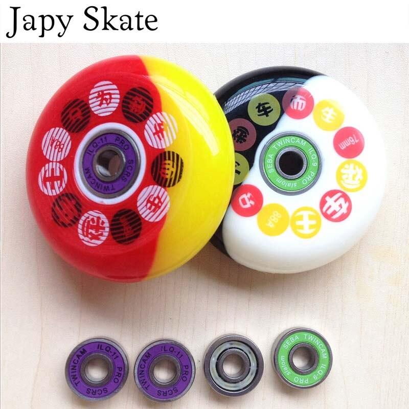 Prix pour Jus japy Skate Roues Avec Roulement De Patinage Roues Un Ensemble 8 Roues + 16 QIL-9 Ou QIL-11 + 8 Espaces de Freinage À Rouleaux Slalom Roues 88A