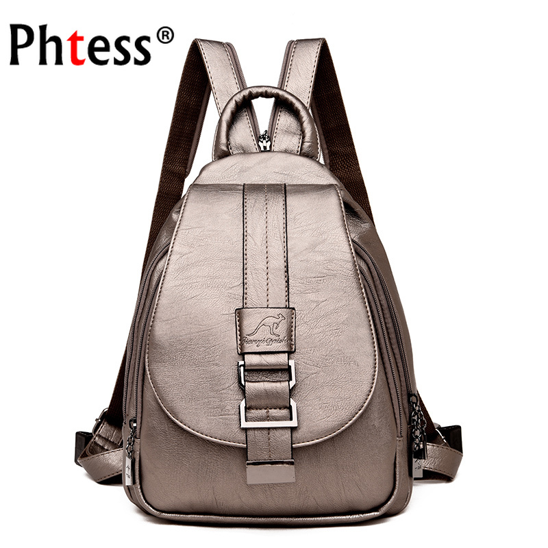 Image 1 - 2019 Women Leather Backpacks High Qaulity Vintage Sac A Dos Ladies Bagpack Travel Preppy Female  Mochilas School Bags for GirlsBackpacks   -