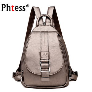 Image 1 - 2019 Women Leather Backpacks High Qaulity Vintage Sac A Dos Ladies Bagpack Travel Preppy Female  Mochilas School Bags for Girls