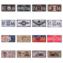 USA Route 66 Car Number Vintage Metal Tin Signs License Plate Plaque Poster Bar Decoration Club Wall Garage Man Cave 15*30cm C10(China)