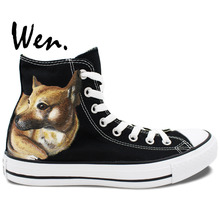 Wen Design Custom Hand Painted Shoes Men Women's Chinese Rural Pet Dog Black High Top Canvas Sneakers Souvenir Gifts