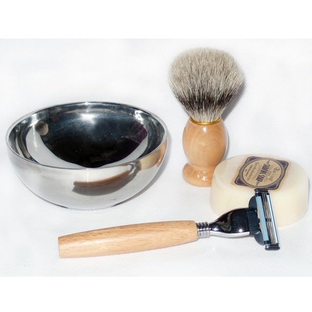 4pc/set Wood Safety Shaving Razor Soap Bowl and Barber beard Shaving Brush