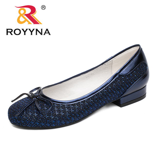 ROYYNA New Fashion Style Women Pumps Butterfly-Knot Women Dress Shoes Slip-On Women Office Shoes Round Toe Lady Wedding Shoes