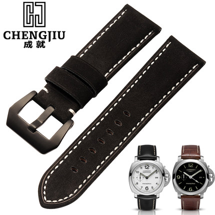 24mm Men's Watch Band For Panerai Watches Strap Clock Bracelet Leather Male Straps Watchbands Black Brown Strap Montre Pulseras for swatch leather watch band 17 mm clock pink silver punch women watches band straps wristband bracelet belts wacht relogio