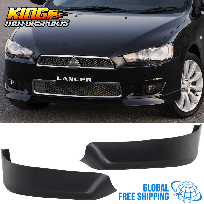 For 08-15 Mitsubishi Lancer OE Style Front Bumper Lip Spoiler 2Pc Chin Splitter Global Free Shipping Worldwide for porsche 996 911 turbo carrera 4 4s front bumper lip spoiler urethane bodykit global free shipping worldwide