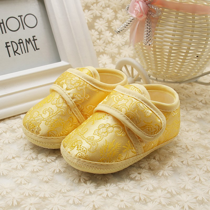 Shoes Baby Prewalker Soft-Bottom Newborn Autumn Spring 0-18M Floral-Embroidery Chinese-Style