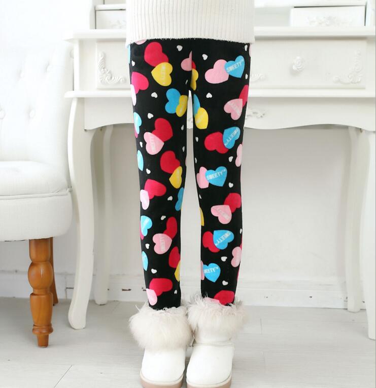 VEENIBEAR Winter Warm Girls Leggings Star Print Girls Pants Kids Children Elastic Waist Girls Trousers Clothing 2-7T 5