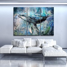 Artistic Whale Painting Top-Rated Canvas Print 3 Piece Combinatorial Modular Animal Poster Modern Home Wall Decorative Framework