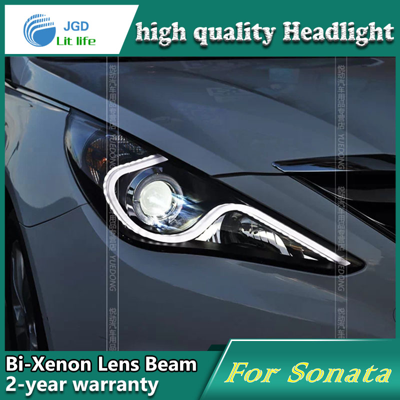 high quality Car styling case for Hyundai Sonata 2011-12 Headlights LED Headlight DRL Lens Double Beam HID Xenon Car Accessories high quality car styling case for mitsubishi lancer ex 2009 2011 headlights led headlight drl lens double beam hid xenon