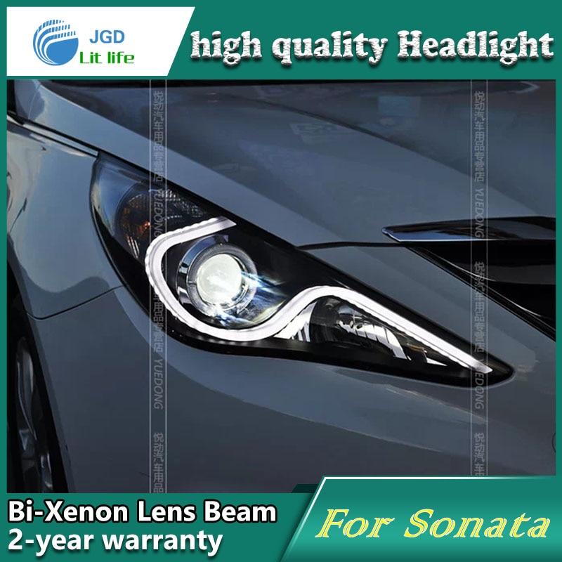high quality Car styling case for Hyundai Sonata 2011-12 Headlights LED Headlight DRL Lens Double Beam HID Xenon Car Accessories high quality car styling case for mitsubishi lancer 2009 2011 headlights led headlight drl lens double beam hid xenon