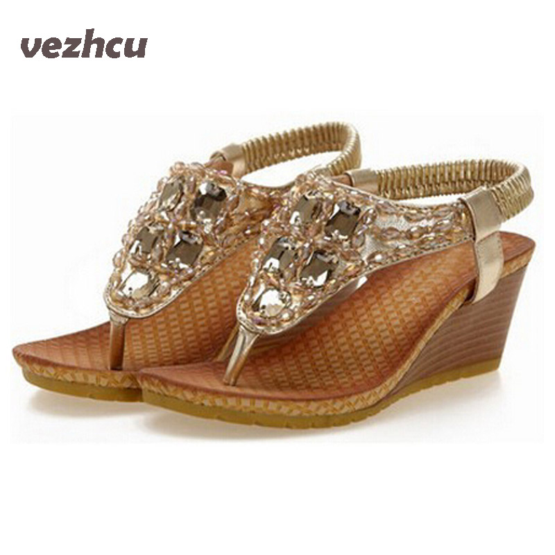 New 2017 summer Crystal fashion women sandals Casual Rhinestone women Flip Flops shoes size 35-40 Shoes Woman 5c66 lanshulan bling glitters slippers 2017 summer flip flops platform shoes woman creepers slip on flats casual wedges gold