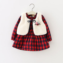 2016 Children Dress Baby Girls Autumn Winter Thick Long-Sleeved Dress+Faux Fur Waistcoat 2pcs/set WX032