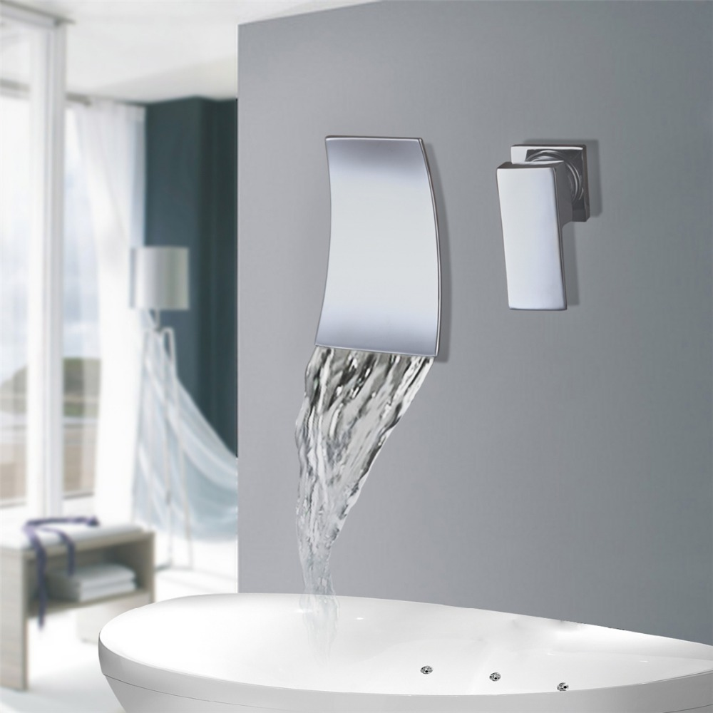 Modern Wall Mounted Bathroom Products Chrome Finished Hot and Cold Water Basin Faucet Mixer,Single Handle water Tap torneira