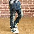 2016 de Primavera y Otoño pantalones de niño grande virginal chicos vaqueros de los niños ropa fijada tela de mezclilla pantalones del bebé pantalones de niño