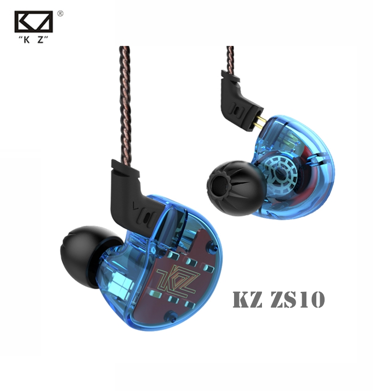 NEWEST KZ ZS10 Dynamic And Armature Earbuds 10 Driver In Ear Earphone 4BA+1Dynamic Hybrid HiFi High Fidelity Bass Sport Headset kz zs5 quad dynamic quad balanced armature octa hybrid driver in ear earphone earbud metallic blue and gray with microphone