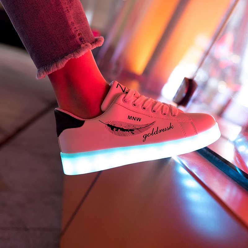 7ipupas 2018 HOT KOOP Blad graffiti kids led schoen 11 kleur lichtgevende zool sneaker voor goy gilr Mooie licht up gloeiende sneaker