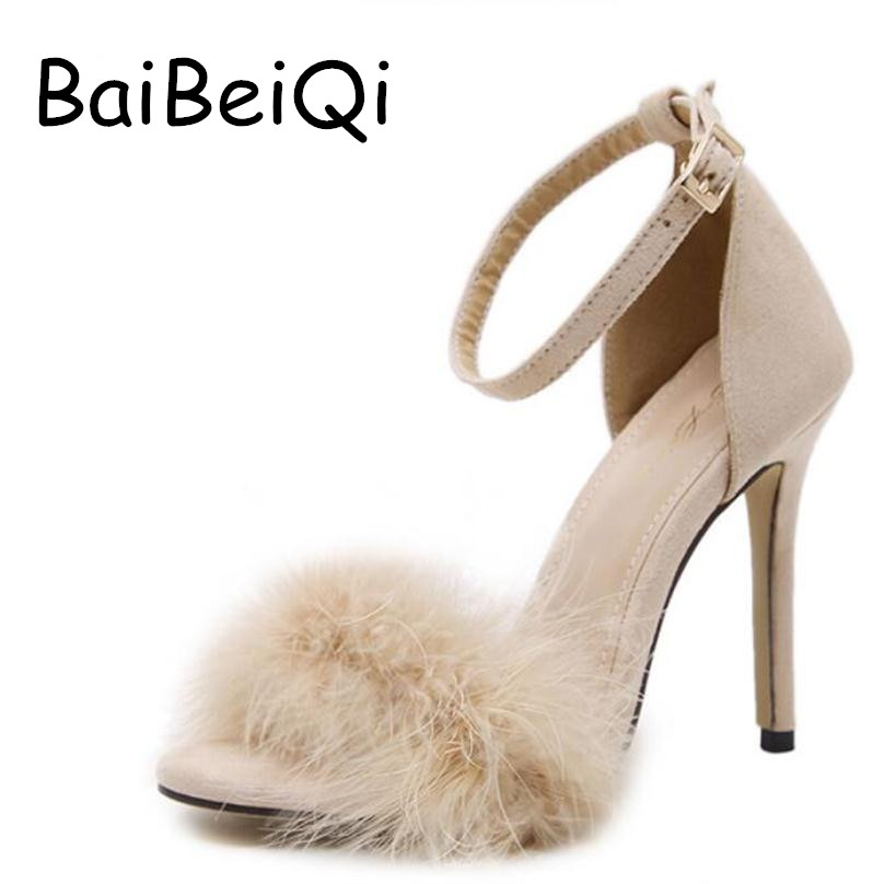 New Vogue Celebrity Brand Desiger Women Sandals Stiletto Feather Hairy Buckle Strap High Heels Bridesmaid Bridal Wedding Pumps gl brand vogue 3colors jf0017
