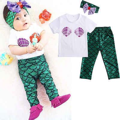 b4b5ace0fdb3 0-24 M ropa de bebé conjunto de 3 piezas Tops de manga corta Camiseta +  polainas de sirena trajes ropa de bebé niña