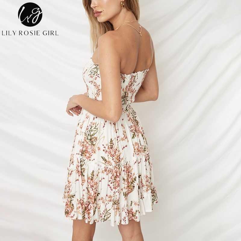 Lily Rosie/пляжное платье без бретелек в стиле бохо для девочек; короткое платье с оборками и цветочным принтом; белые милые летние платья без рукавов для девочек