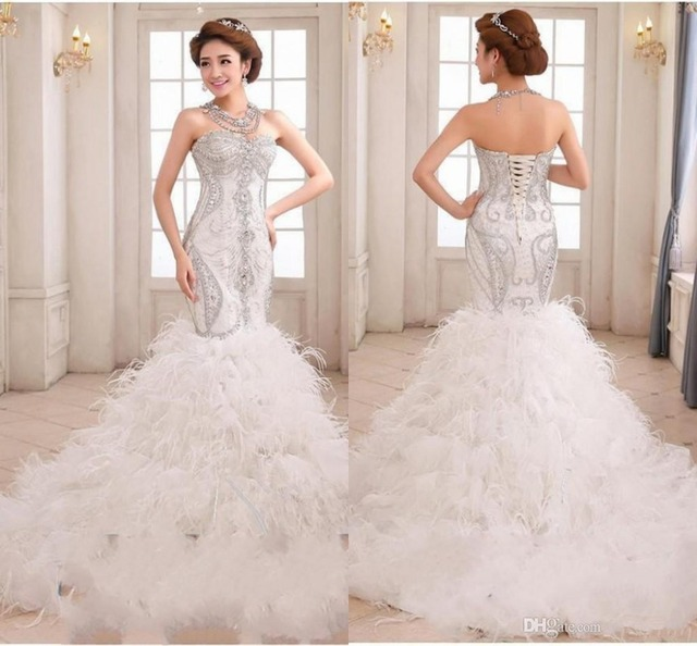 Preciosa Sirena Vestidos de Novia Bordado Con Cuentas Cristales Impresionantes con Plumas de Encaje-up Vestidos de Boda de La Vendimia
