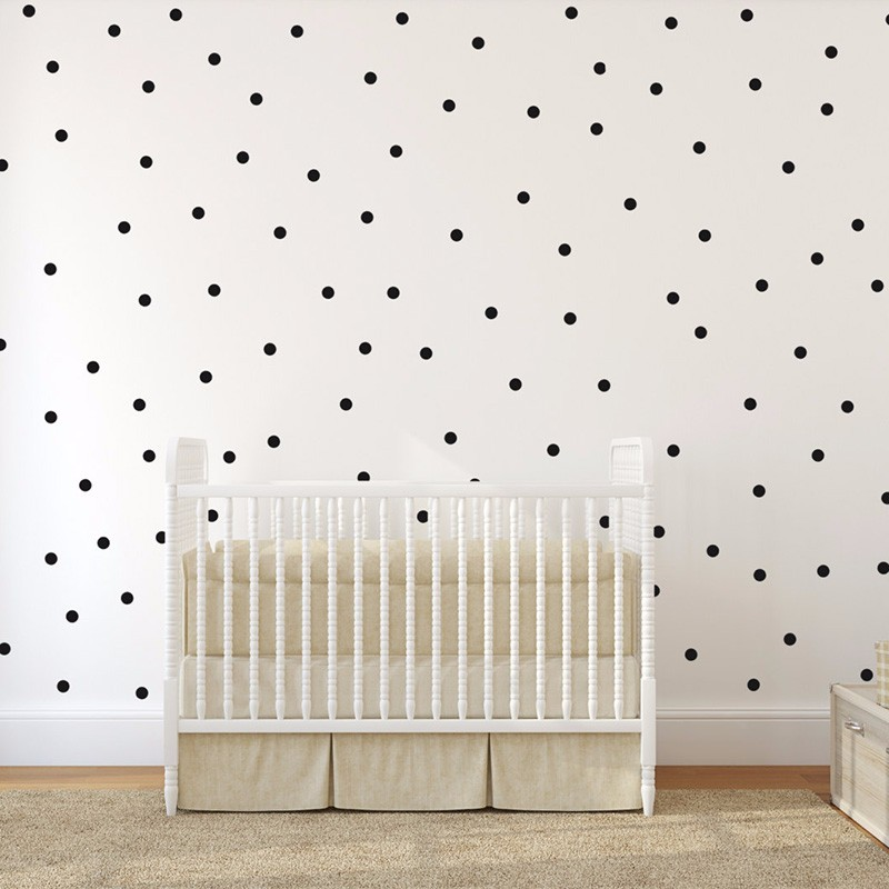 Black Dots Wall Tile Stickers Wall Decal Family DIY Removable Home Decoration Art Kids Room Decor 1 White Chalk Liquid Marker in Wallpapers from Home Improvement